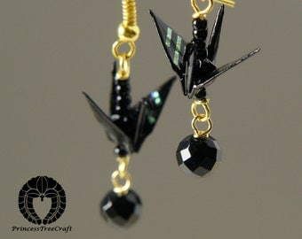 Origami Jewelry, Origami Crane Earrings - Black Crane