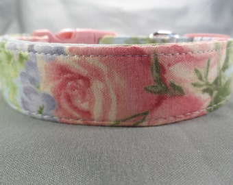 Pastel Blue with Pink Roses Dog Collar
