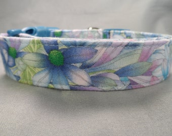 Blue Pink and Purple Flower Girl Dog Collar