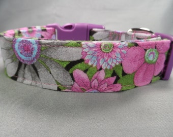Gray and Orchid Flowers Girl Dog Collar