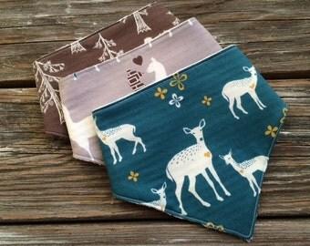 ORGANIC Baby/Toddler Bandana/Scarf/Bibdana/Drool Bib ~ Elk//Woodland//Deer//Nature//Trees//Llama