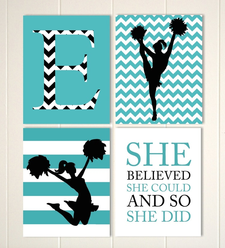 cheerleader wall art girls room cheer decor by picabooartstudio. Black Bedroom Furniture Sets. Home Design Ideas