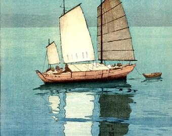 Sailboats, Sailing Boats Yoshida Hiroshi FINE ART PRINT, Japanese sea landscapes art prints, posters, paintings, woodblock prints, wall art
