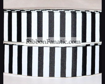 """5 yds 1.5"""" Black and White Candy Stripe Striped Grosgrain Ribbon"""