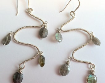 Hawaiian Labradorite Snake Earrings long dangle sterling silver wire wrapped french ear wires Made in Maui Sale