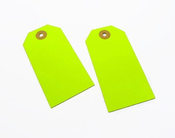 SALE!  10 Yellow Neon Gift Tags / Luggage Labels