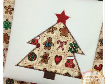 Christmas tree applique embroidery