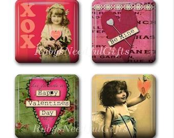 Glass Tile Magnets,  Fridge Magnets, Valentine Magnets, 1 inch, Best friends gift, Hostess Gift, SET OF 4.