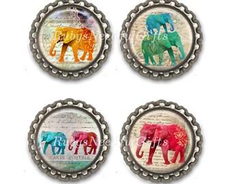 Elephant Bottle Cap Magnets, Bottlecap magnets,  fridge magnets, refridgerator magnets, Birthday Gift, Set of 4.