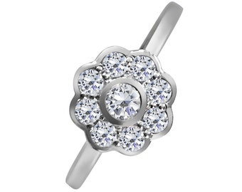 CZ Diamond Daisy Ring in 925 sterling silver.