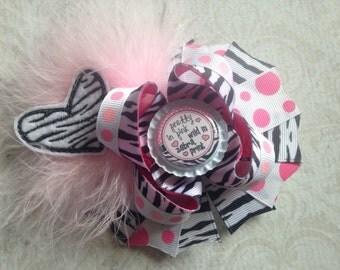 Pretty in Pink Wild in Zebra Print Hair Bow