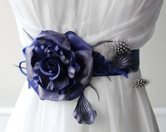 Blue Flower Wedding Sash Bridal Belt Good For Flower Girls and Bridesmaids