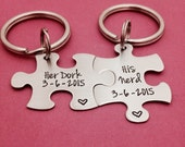 FREE US SHIPPING Couples Custom Puzzle Piece key Chain Set Hers and His Her Dork His Nerd anniversary gift for Him Personalized