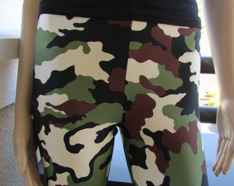 Green Camouflage Spandex Leggings