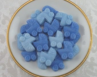 36 Blue Mini Baby Buggy Shaped Sugar Cubes for Baby Shower, Party Favor