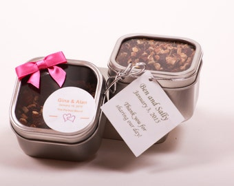 Organic Tea Wedding Favors / Corporate Promotional Gifts/ Shower Favors.  Clear Lid Tin.
