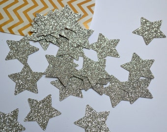 Stars, large, silver sparkle, 25ct