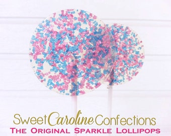 Blue and Hot Pink Lollipops, Candy, Wedding Favors, Party Favors, Lollipops, Candy Lollipops, Sweet Caroline Confections-Set of Six
