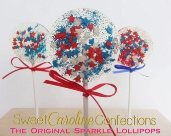 Fourth of July Lollipops, Star Lollipops, Celebration Lollipops, Candy Lollipops, Red White and Blue, 4th of July, Sparkle Lollipops