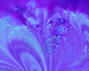 "Fine Art print, ""Dreams in Purple Satin."" Fractal, 11 x 14 inch print"
