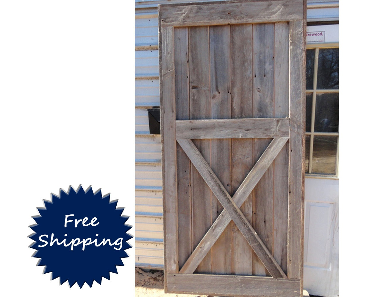 Half x brace barn door room divider made to order from for Barn door room divider