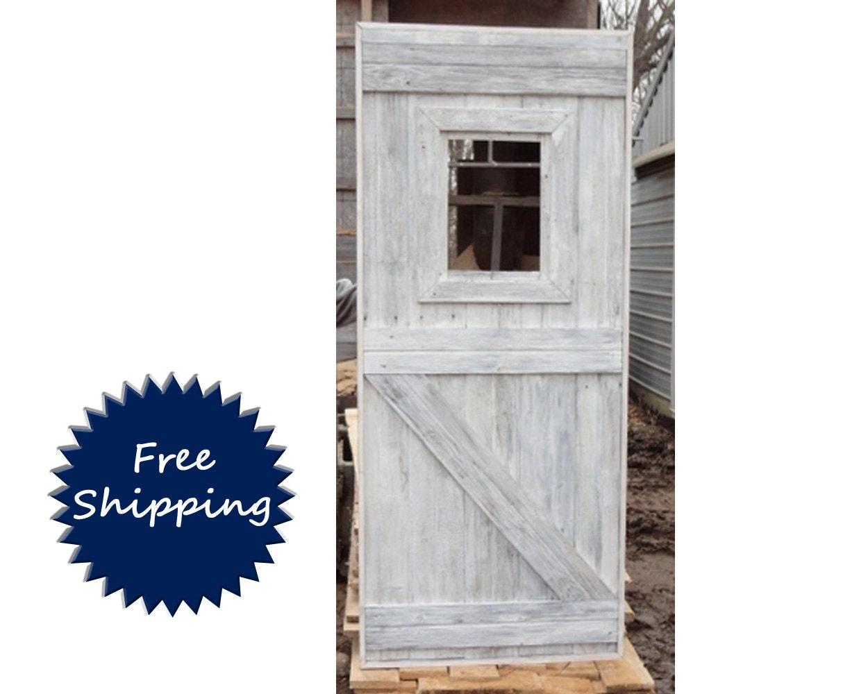 Half z brace barn door with window room divider made to order for Barn door dividers