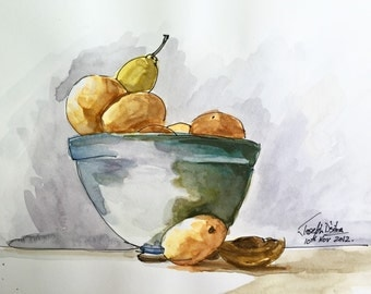 "Fruits in a Bowl Still Life - Watercolor Sketch Original, quick sketch, fruit, bowl - 5""x8.5"" Watercolor and Pen on paper"