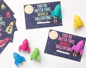 Valentines Printable Tags-- You're Outta This World-- Space Valentine-- Digital File
