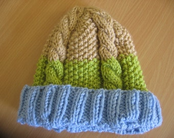 Sale 25% Cable Knit Baby Hat. Light Blue, Green and Beige Knitted baby Hat. Size: 6-12 months. Free Shipping.