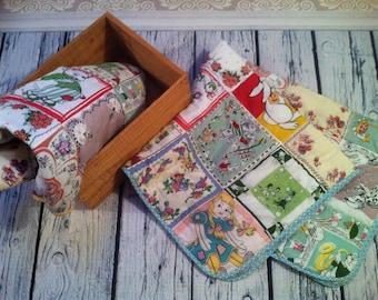 Handmade Patchwork Cot Quilt, Whimsical, Bunny, Hankie,  handmade in Australia by Kittyandzac, Kawaii