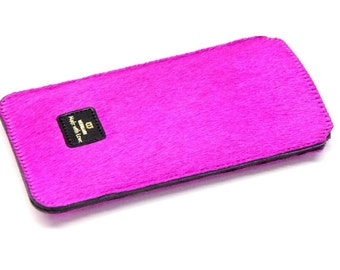 iPhone 6s case leather with cowhair pink smartphone case real leather