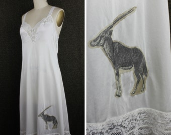 Ivory Lingerie Night Gown with Horned African Oryx Applique