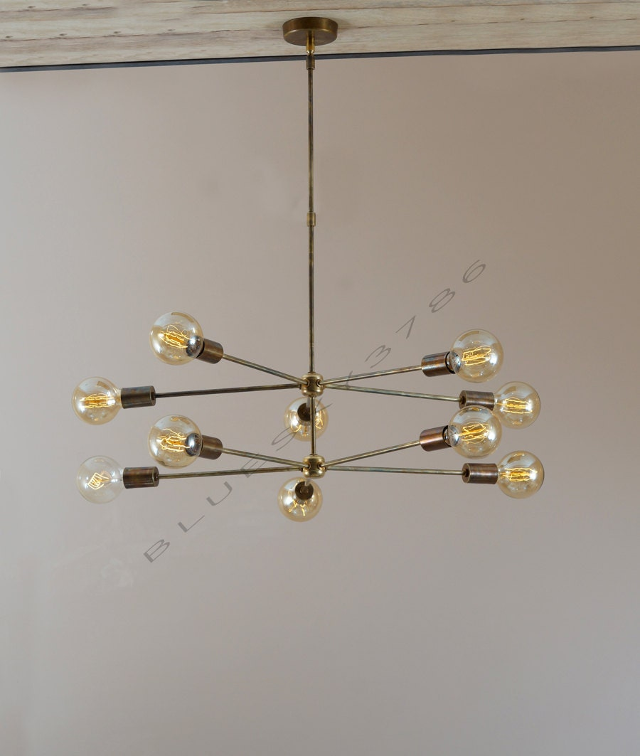 Modern Arm Chandelier: Mid Century 10 Arms Modern Brass Chandelier // By Bluesky3786