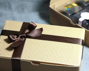 Brown paper gift boxes in set of 10 - 18 x 12 x 5 cm