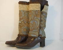 Turquoise Brown Gold Rust Fabric Boot Covers - Reversible