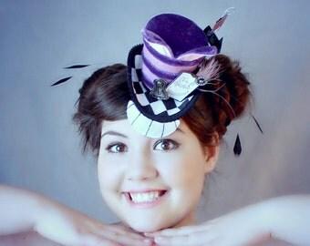 Cheshire Cat Hat, Mini Top Hat, Cheshire Cat, Mini Top Hat, Mad Hatter Hat, Fascinator , Tea Party Hat , Women Top Hat