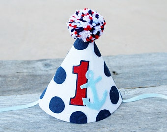 Boys 1st Birthday Nautical Party Hat - Boys First Birthday Navy and Anchors Party Hat - Little Sailor - Cake Smash