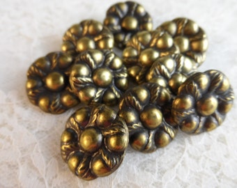 "Vintage gold or silver plate brass flower stud,13/16th"",10pcs-ERG89"