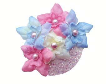 20% off everything with the code XMAS20 Rockabilly Burlesque Pastel Floral Glitter  Fascinator