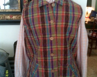 Womans Vintage Quilted Plaid Vest, size 14, by Company Collection, Womans Quilted Vest