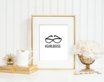 GIRL BOSS   #girlboss wall print - motivational print - minimalist wall art - entrepreneurs - girl boss wall art - boss babe