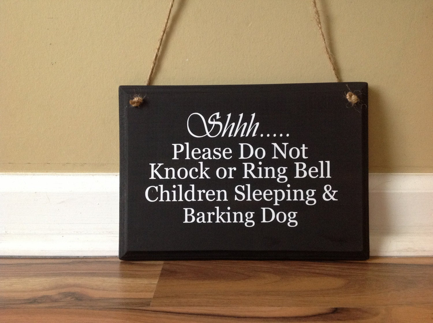 Shhh please do not knock or ring bell children sleeping Where did the saying knock on wood come from