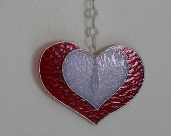 Stained Glass *Heart,Mother's Day Gift,Valentine's Day Gift, Suncatcher,Friend Gift,Gift for Her,Suncatcher,Hanging Ornament,Gift for Mom