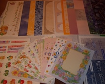 SCRAPBOOKING PACKAGE / Current Brand Pages and Stickers / 50 Assorted Pieces / Scrapbooking Stickers / Scrapbooking Pages