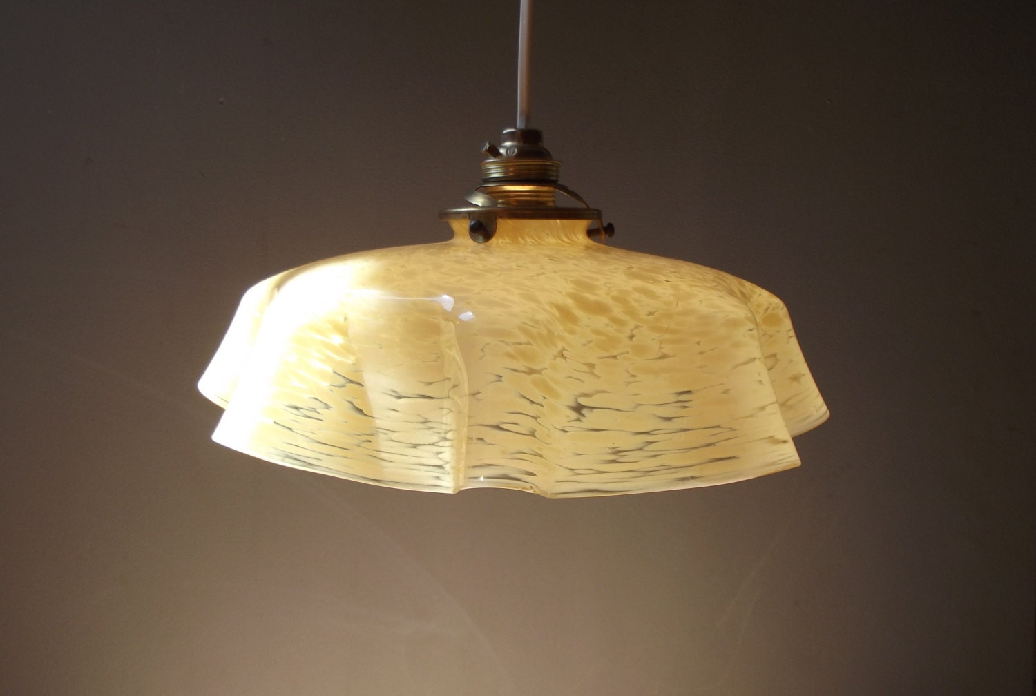 beautiful antique yellow marbled opaline glass ceiling light