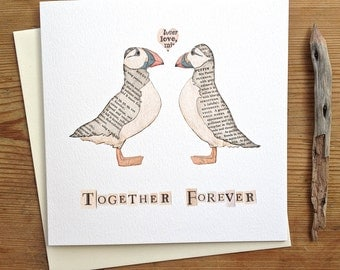 Together Forever - Puffins Greeting Card - Wedding Anniversary / Anniversary / Wedding / Love / Just Because / Valentines / Seaside Coastal