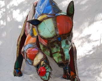 Life-Size Outdoor Custom Made Metal Bear Sculpture Made Out of Found Objects By Jacob Novinger