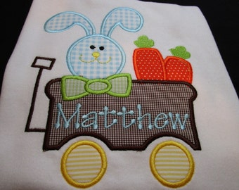 Personalized Easter Boy Shirt-Easter Boy Shirt- Monogrammed Easter Bunny Shirt-Boy Easter Bunny Shirt-Baby Boy Easter Shirt