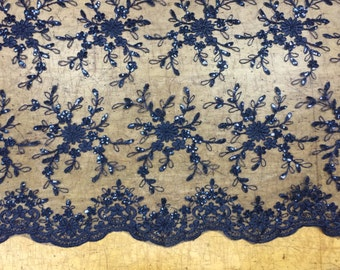 Navy Sequin Lace, Lace Fabric, Scalloped Fabric for Wedding, Bridals, Gowns