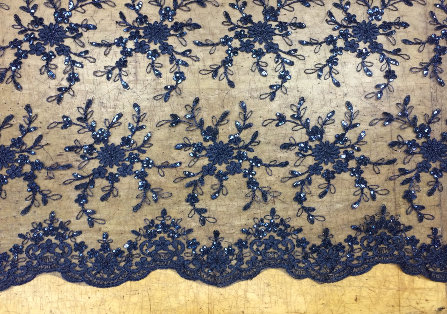 Navy sequin lace lace fabric scalloped fabric for wedding for Sequin fabric